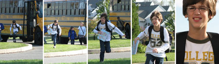 Sam off the bus